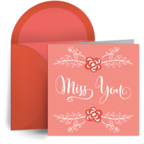 Missing You Red Flowers card image