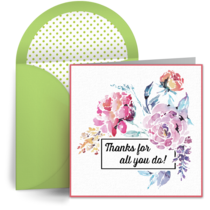 Admin Floral Thanks card image