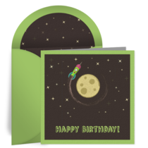 Birthday Rocket Ship card image