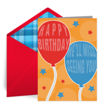 Miss You Birthday card image
