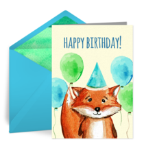 Happy Birthday Fox card image