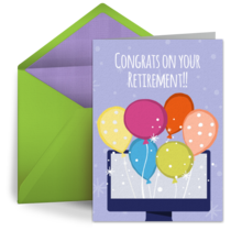 Virtual Retirement Balloons card image