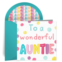 Auntie Birthday card image
