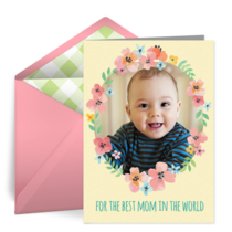 Birthday Floral Wreath Photo card image