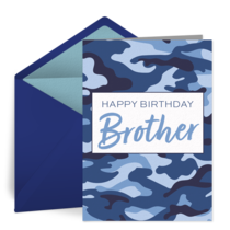 Brother Birthday Camo card image