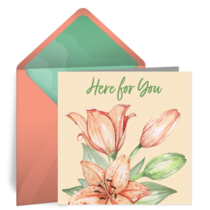 Here For You Lilies card image