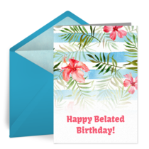Belated Birthday Floral card image