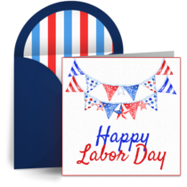 Labor Day Bunting card image