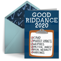 Good Riddance to 2020 card image