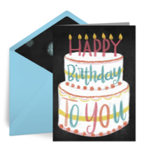 Happy Birthday Chalkboard Cake card image