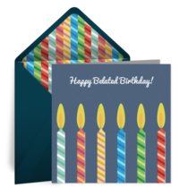 Belated Birthday Candles card image