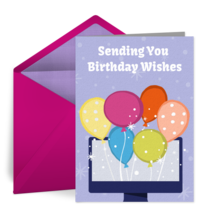 Virtual Birthday Balloon Bunch card image