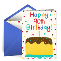 Milestone Birthday Cake 90th card image