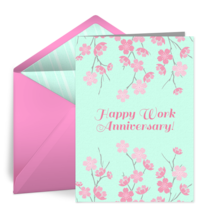 Work Anniversary Blossoms card image