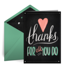 Thanks For All You Do Chalkboard card image
