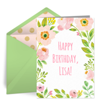 Spring Birthday Blossoms card image