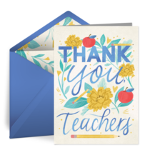 Thank You Teachers Floral card image